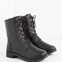 Black Trapunto Quilted Combat Boot