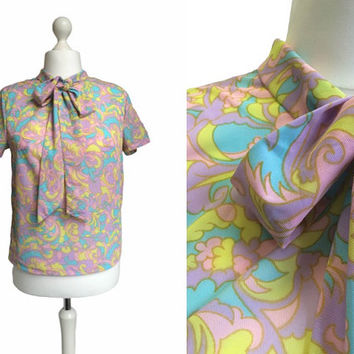 1960's Blouse - Psychedelic - 1960's Vintage - Multi Coloured Pattern Psych Pussy Bow Top