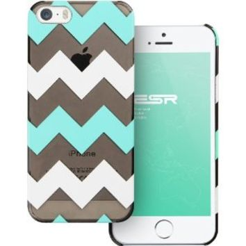 iPhone 5s Case, iPhone 5 Case, ESR Beat Series Chevron Pattern Hard Back Cover Snap on Case for iPhone 5 / 5s (Transparent Mint)