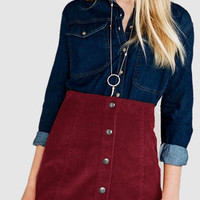 Burgundy Button Through A Line Skirt in Corduroy