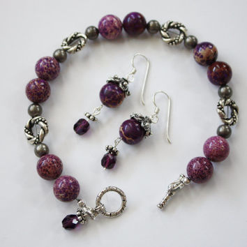 Purple Jasper and Amethyst Earrings-Bracelet Set, Antique Silver Accents, Treat Yourself, Toggle Clasp, Holiday, Gift Set, Gift for Her
