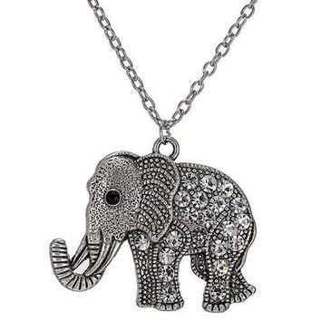 Rhinestoned Engraved Elephant Pendant Sweater Chain - Silver