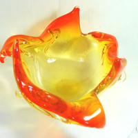 Vintage Murano Blown Glass Bowl Orange and Yellow  , Blow Art Glass from the 50's