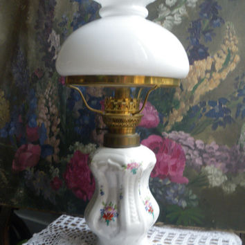 Antique french romantic,porcelain oil lamp,handpainted flowers,white milk glass petticoat shade,end 19h,early 20th.FREE SHIPPING