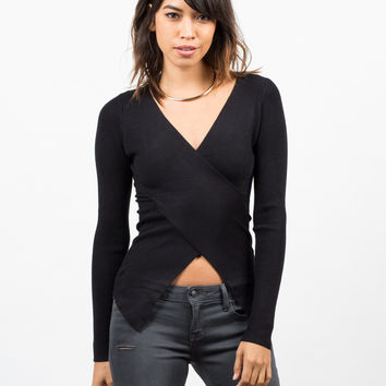 Ribbed Crossover Long Sleeve Top