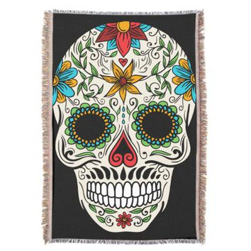 Day of the Dead Sugar Skull Throw Blanket