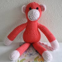 Hand knitted toy monkey knit soft toy pink knit monkey - READY TO SHIP