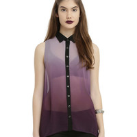 Purple Ombre Sleeveless Chiffon Girls Tunic Top