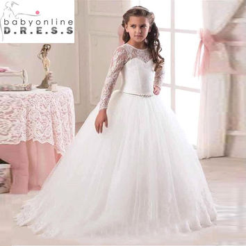 Hot Sale 2016 Long Sleeve Flower Girl Dresses for Weddings Lace First Communion Dresses for Girls Pageant Dresses White Ivory