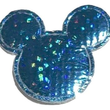 Blue holographic Minnie Mouse 30x25mm padded appliqué