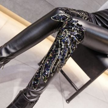 Black PU Leather Embroidered Sequin Leggings
