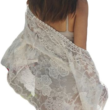 Off White Sheer Rose Lace Beach Cover Up