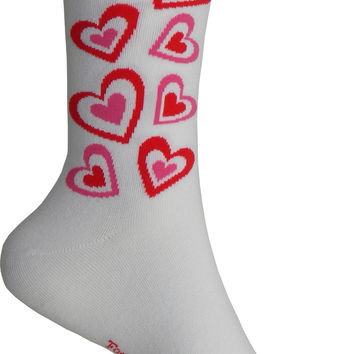 Hearts Crew Socks in White