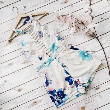 Floral Water Color Print Romper