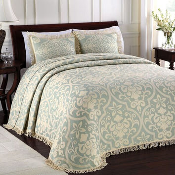 Blue All Over Brocade Bedspread