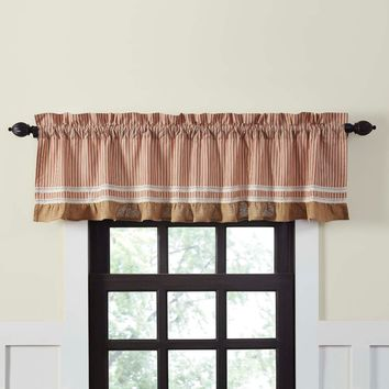 Kendra Stripe Red Valance Lined 16x72