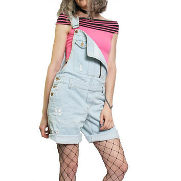 Vintage 90s Light Wash Denim Overalls Overall Women Shorts Jean Shorts - Torn Distressed Frayed - Size Small Medium - Grunge Goth 1990s