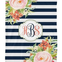 Watercolor Floral Stripe Nursery Baby Blanket MONOGRAM Personalized Soft Baby Nursery Fleece Blanket Home Decor Bedding Wedding Shower Gift