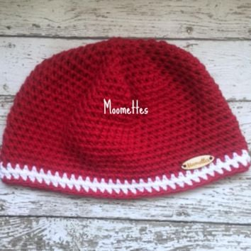 Handmade Beanie Red White Stripe Wood Button Crochet Cotton Hat Womens
