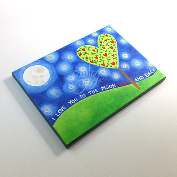 """Art for Children - Love You To The Moon and Back Tree #4  - 9""""x12"""" Painting - Acrylic Canvas - Art for kids - Nursery Decor"""