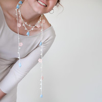 Crochet Necklace Oya Blue 3D Bellflowers Peach Flowers Beaded Lariat Jewellery, Beadwork, Wedding Necklace, ReddApple,  Gift Ideas