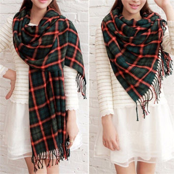 Women Winter Warm Gift Neck Tassel Tartan Scarf Wraps Shawl Long Scarves