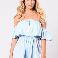 Look How Cute I Look Romper - Blue