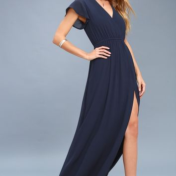 Lost in the Moment Navy Blue Maxi Dress
