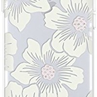 kate spade new york Protective Hardshell Case for iPhone 8 - also compatible with iPhone 7 - Hollyhock Floral Clear / Cream with Stones