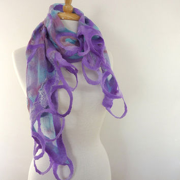 Lavender and Blue Fashion Scarf Natural Cotton and by sesenarts