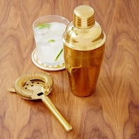Gold Color Cocktail Shaker and Strainer Set