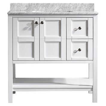 Vinnova Florence 36-inch White Mirrorless Single Vanity with Carrara White Marble Top | Overstock.com Shopping - The Best Deals on Bathroom Vanities