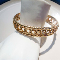 Vintage Monet Gold Toned Bangle Chain Design