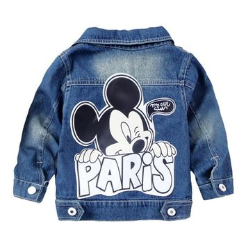Trendy Dulce Amor Kid Denim Mickey Jacket Coat Fall Children Fashion Cartoon Outerwear Baby Boys Girls Clothes Hole Jeans Coat Tops AT_94_13