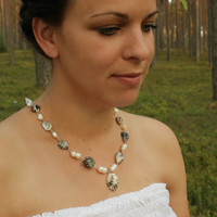 Natural tones freshwater pearl necklace, sea shells,  beaded jewelry, eco friendly, beadworks, ready to ship