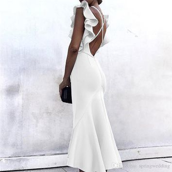 Sexy Ruffles Little White Party Dresses For Women 2019 Midi Calf Length Pencil Dresses Sexy Backless V Neck FS5315