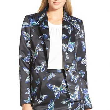 Women's CeCe by Cynthia Steffe 'Floating Butterflies' One-Button Jacket,
