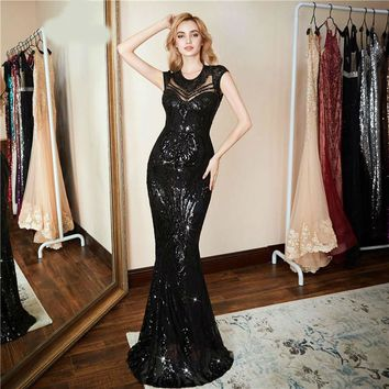 New Personality Evening Dress Sexy Black Long Sequin prom gowns Formal Party dress