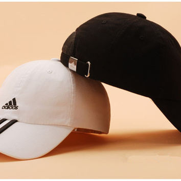 """Adidas"" Fashion Casual Simple Embroidery Three White Vertical Stripe Letter Cotton Tongue Cap Hat"