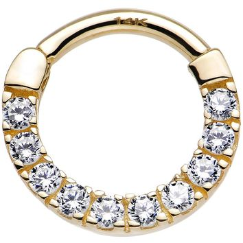 "14 Gauge 3/8"" 14kt Yellow Gold Clear Cubic Zirconia Halo Septum Clicker"