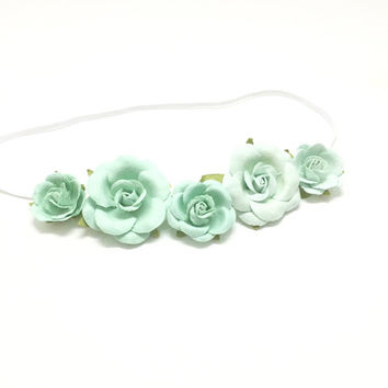 Baby halo headband with mint flowers, baby flower halo, flower headband, baby girl headband, baby shower gift, baby photo prop