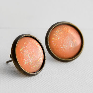 Apricot Peach Post Earrings in Antique Bronze - Peach Earrings with Holographic Flecks