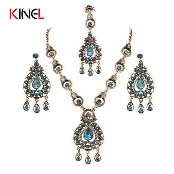 Kinel Brand Blue Crystal India Wedding Jewelry Sets For Women Headdress Earrings Necklace Crystal Pendant Hair Accessory Jewelry