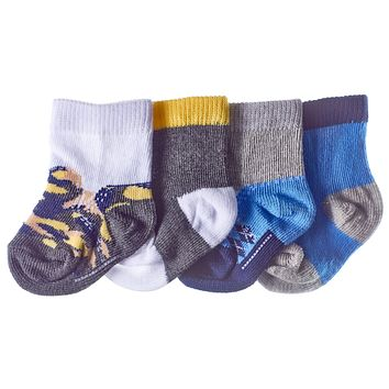 4-Pack Baby Boys Argyle, Camo, Colorblock Booties