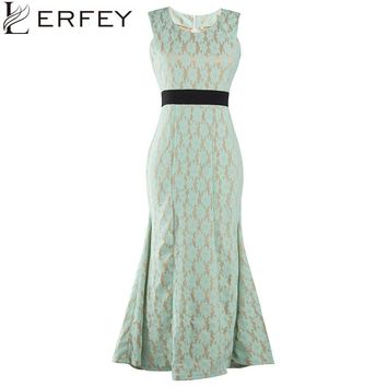 LERFEY Women Lace Dress Summer Long Crochet Summer Maxi Evening Party Sleeveless Mermaid Dresses Elegant Clothing