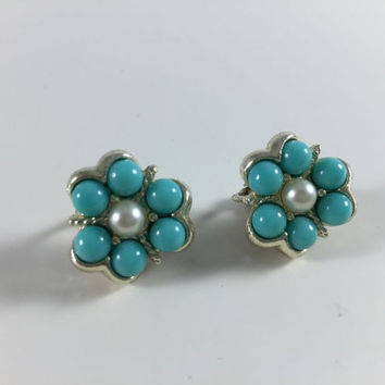 Vintage Costume Jewelry Sarah Coventry Earrings Faux Pearl Turquoise Gold Toned Clip On Earrings