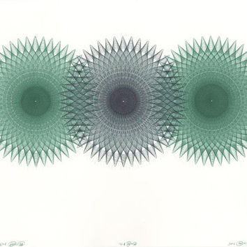 Drawing & Illustration, Original Ink Drawing Green Triple Circles Trinity, Geometric Spirals, Ballpoint Pen, Original Art Work 11x14