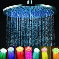 Crystalcity-6662® 7 Colors Changing LED Shower Head Romantic Light Home Bathroom Showerhead