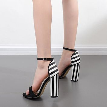 Striped Chunky Platform Sandals