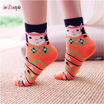 inDostyle 2 pairs of Japanese simple style  embroidery kawaii cartoon sock  porcelain doll  ladies women brand socks 10476